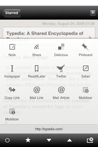 Reeder Screenshot, Sharing